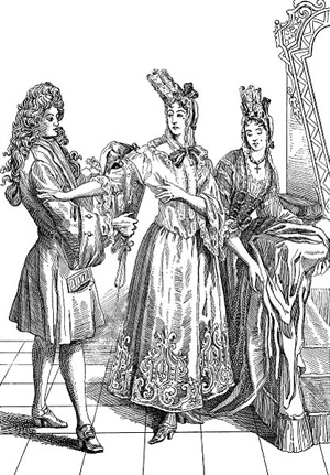 Women are wearing fontange headdresses