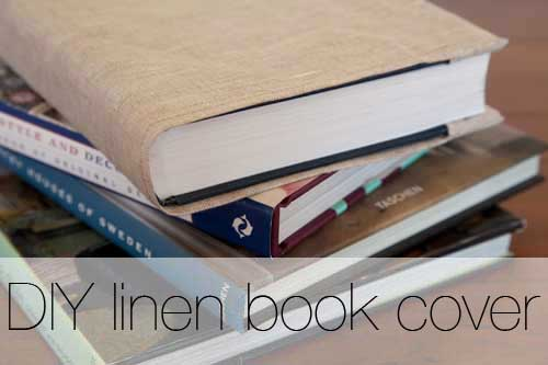 DIY Linen Fabric Book Cover.