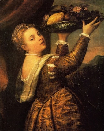 Girl with a basket of fruits. Lavinia. Titian.