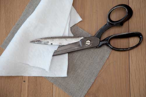 DIY scrap linen potholder