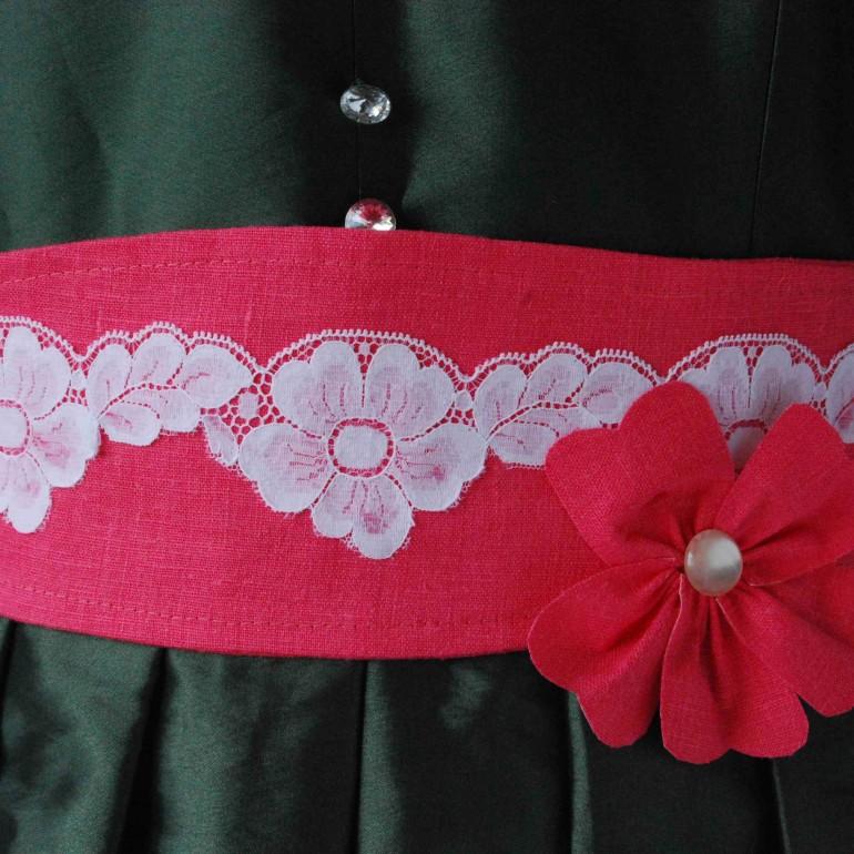 Linen Belt With Vintage Lace Trim