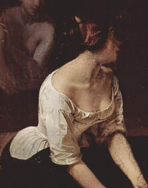 woman in a linen chemise