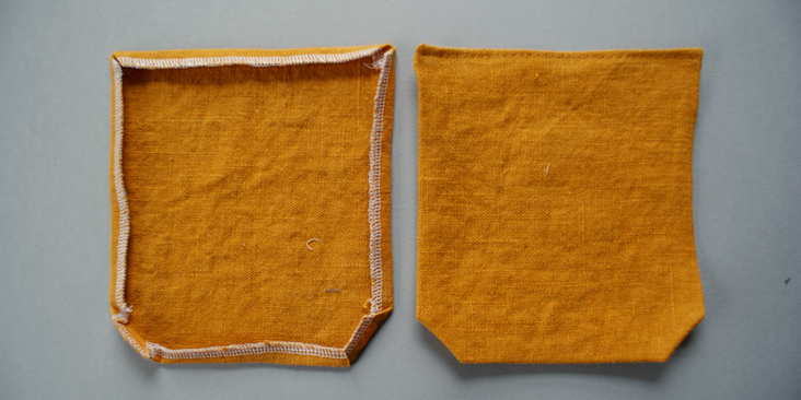 stitched and ironed pockets