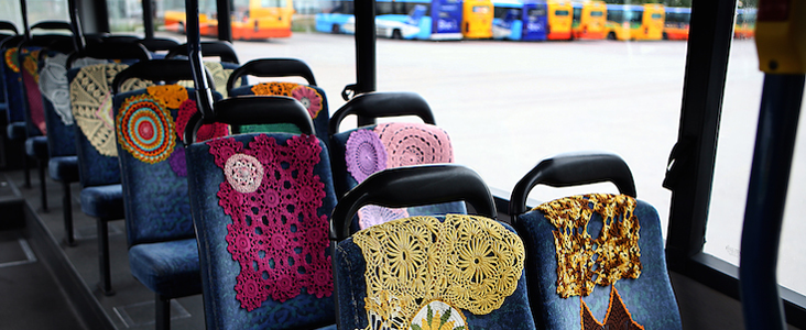Yarnbombing, Guerilla Kindness, and Crocheted Buses