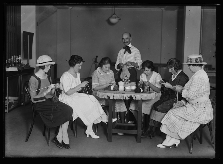 Photo from http://loc.gov. Photo taken between 1921 and 1932. No related caption, photographer Harris & Ewing. (Our knitting circle looked kind of like this, only no overly enthusiastic man in an outstandingly devilish tie.)