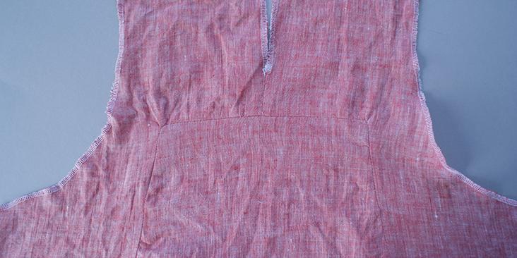 sewn back
