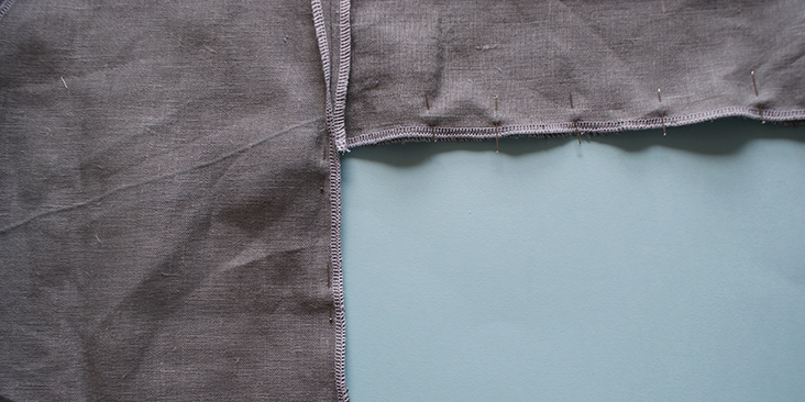 pinned sleeve seam