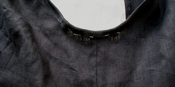 final pin armhole binding