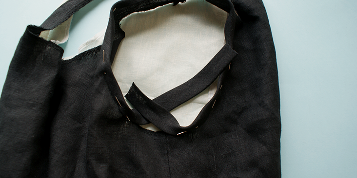 pinned armhole binding