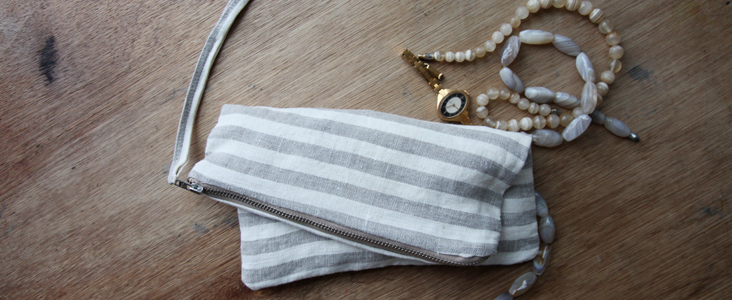 Linen Stripy Pouch Tutorial