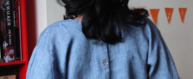 Button Detailed Yarn Dyed Linen Top Tutorial