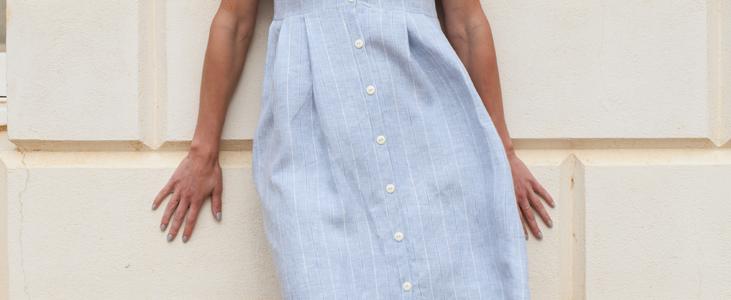 Linen Button-Down Pleated Dress Tutorial