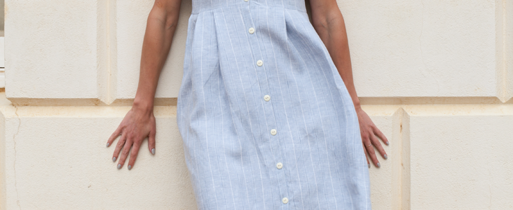 Linen Button-Down Pleated Dress Tutorial