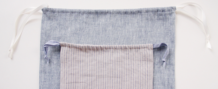 Easy Linen Drawstring Shoe Bag Tutorial