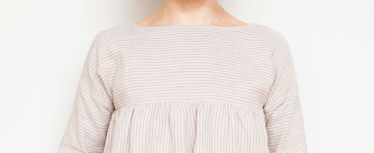 Striped Linen Gathered Blouse Tutorial